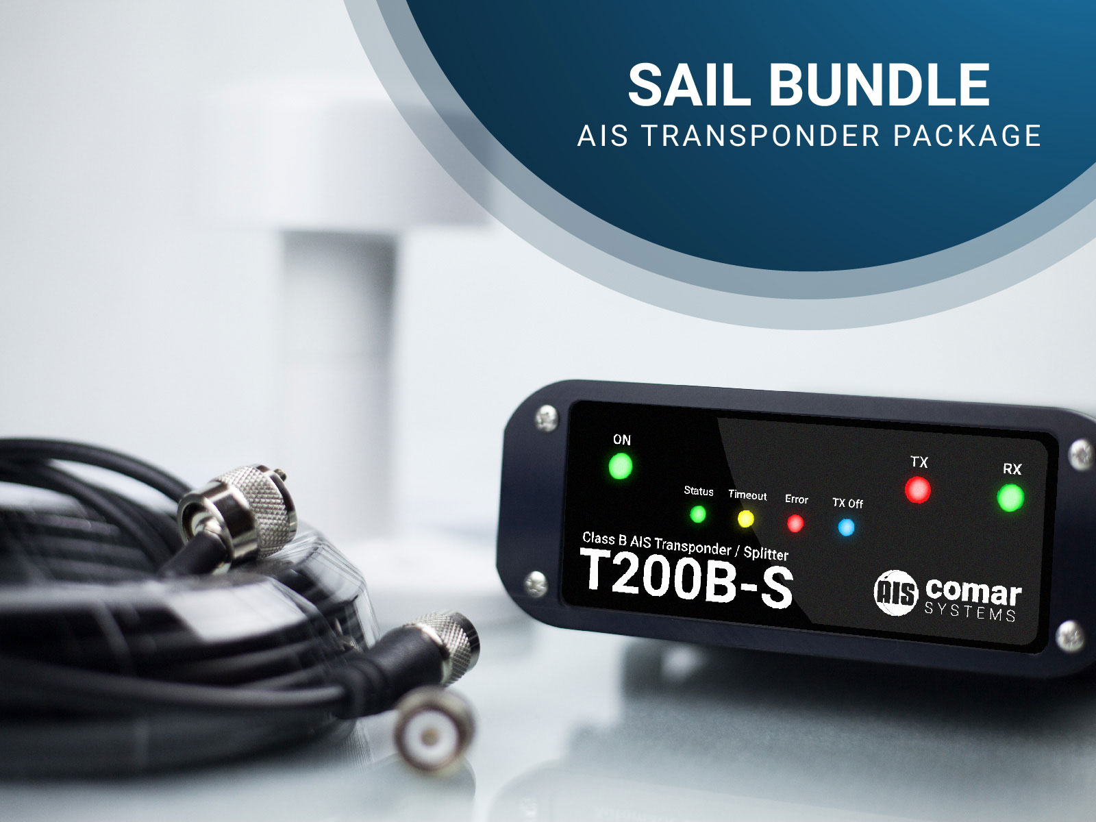 Sailboat AIS Transponder Package with Splitter & GPS Antenna